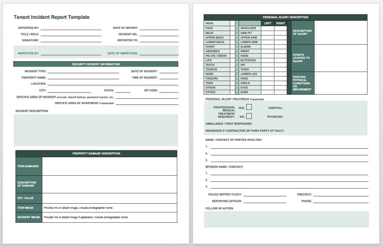 Free Incident Report Templates & Forms | Smartsheet With Injury Report Form Template