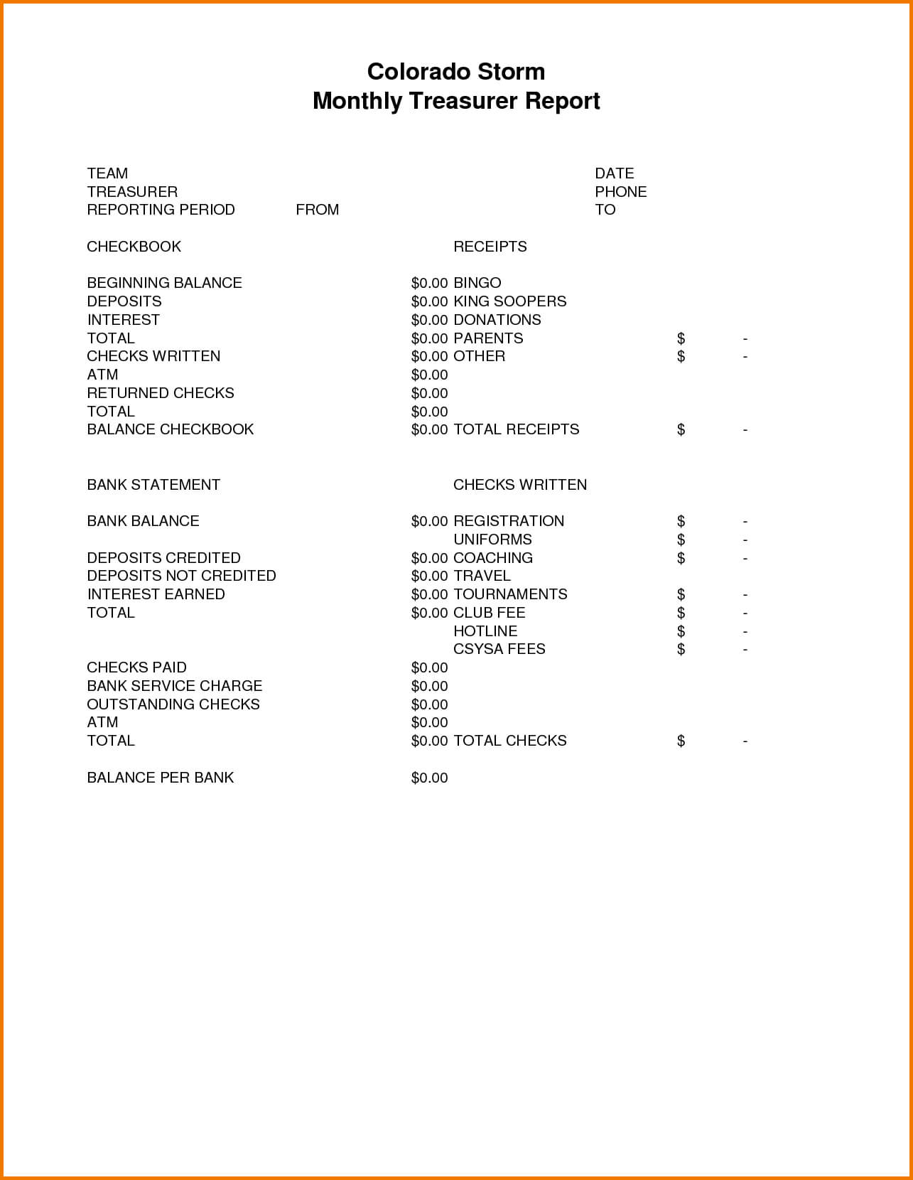 Free L Treasurer Report Template Treasurers For Non Profit In Treasurer's Report Agm Template