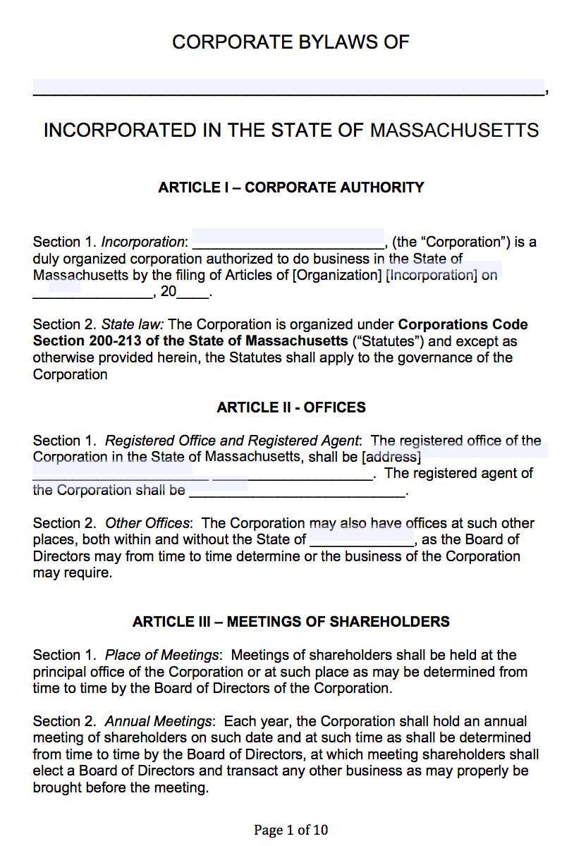 Free Massachusetts Corporate Bylaws Template | Pdf | Word | Regarding Corporate Bylaws Template Word