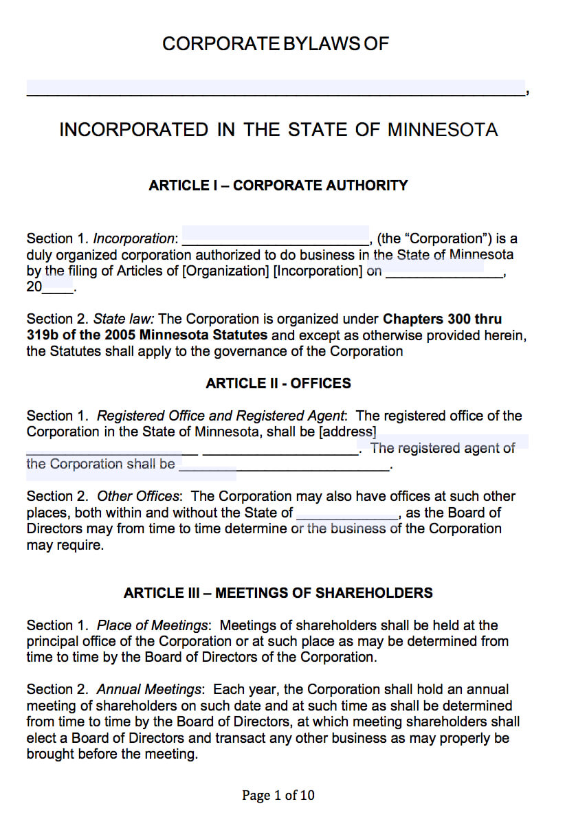 Free Minnesota Corporate Bylaws Template | Pdf | Word | Within Corporate Bylaws Template Word