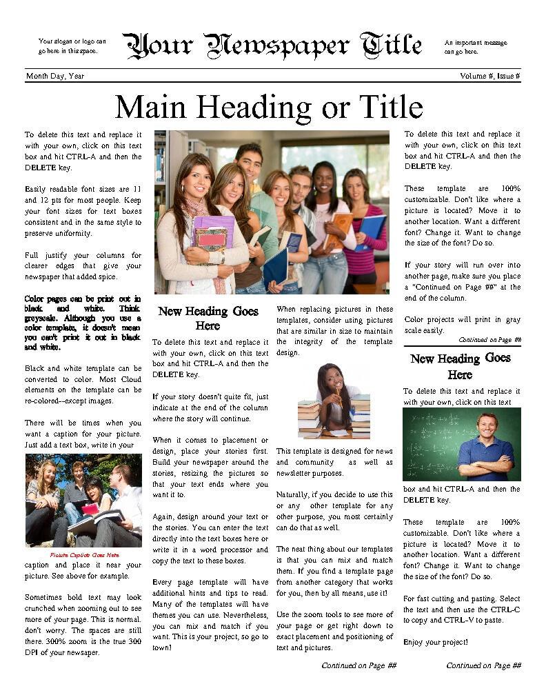 Free Newspaper Templates – Print And Digital Regarding Blank Newspaper Template For Word