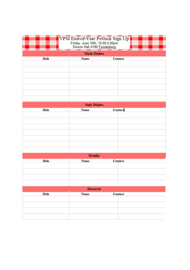 Free Potluck Signup Sheet – Colona.rsd7 With Regard To Potluck Signup Sheet Template Word
