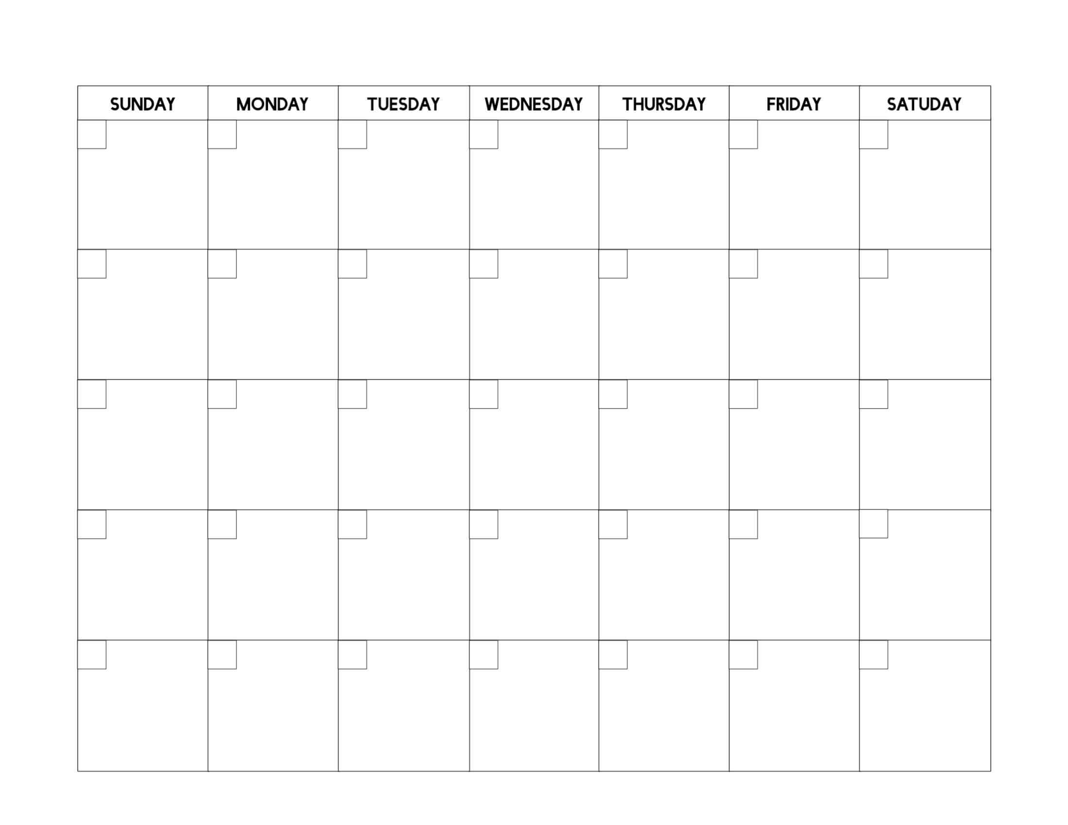 Free Printable Blank Calendar Template - Paper Trail Design With Regard To Full Page Blank Calendar Template