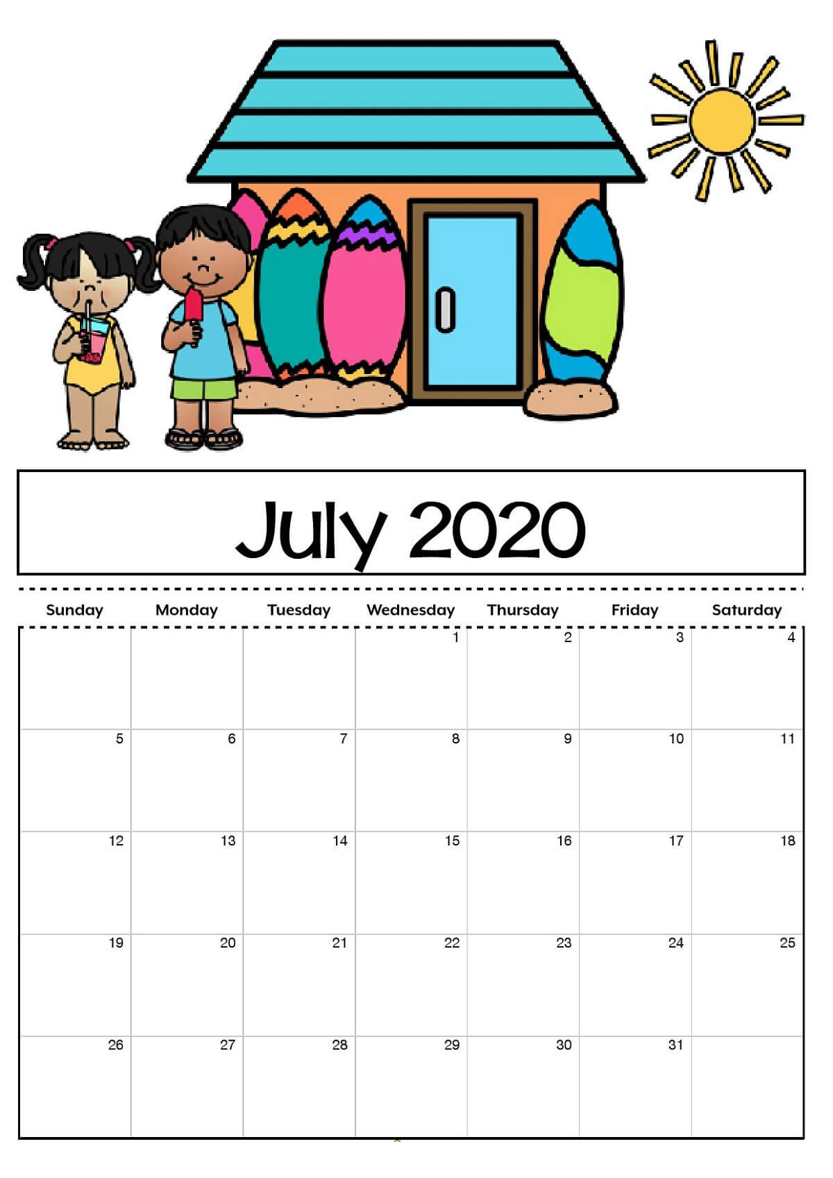 Free Printable Calendar Templates 2020 For Kids In Home With Blank Calendar Template For Kids
