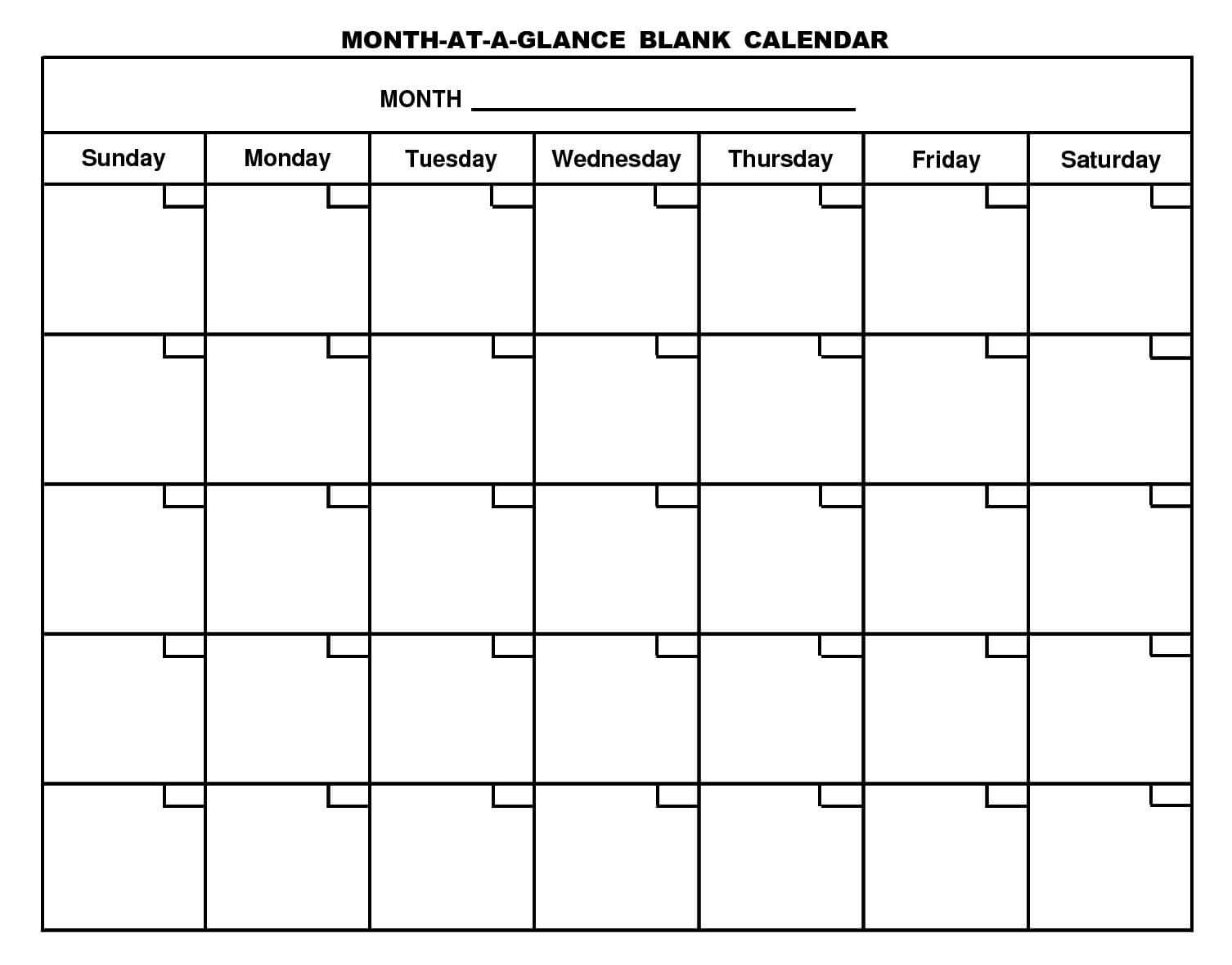 Free Printable Monthly Calendars At A Glance | Monthly For Month At A Glance Blank Calendar Template