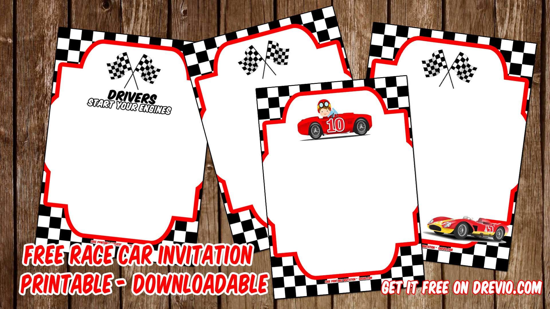 Free Printable Race Car Invitation Templates – Bagvania With Regard To Blank Race Car Templates