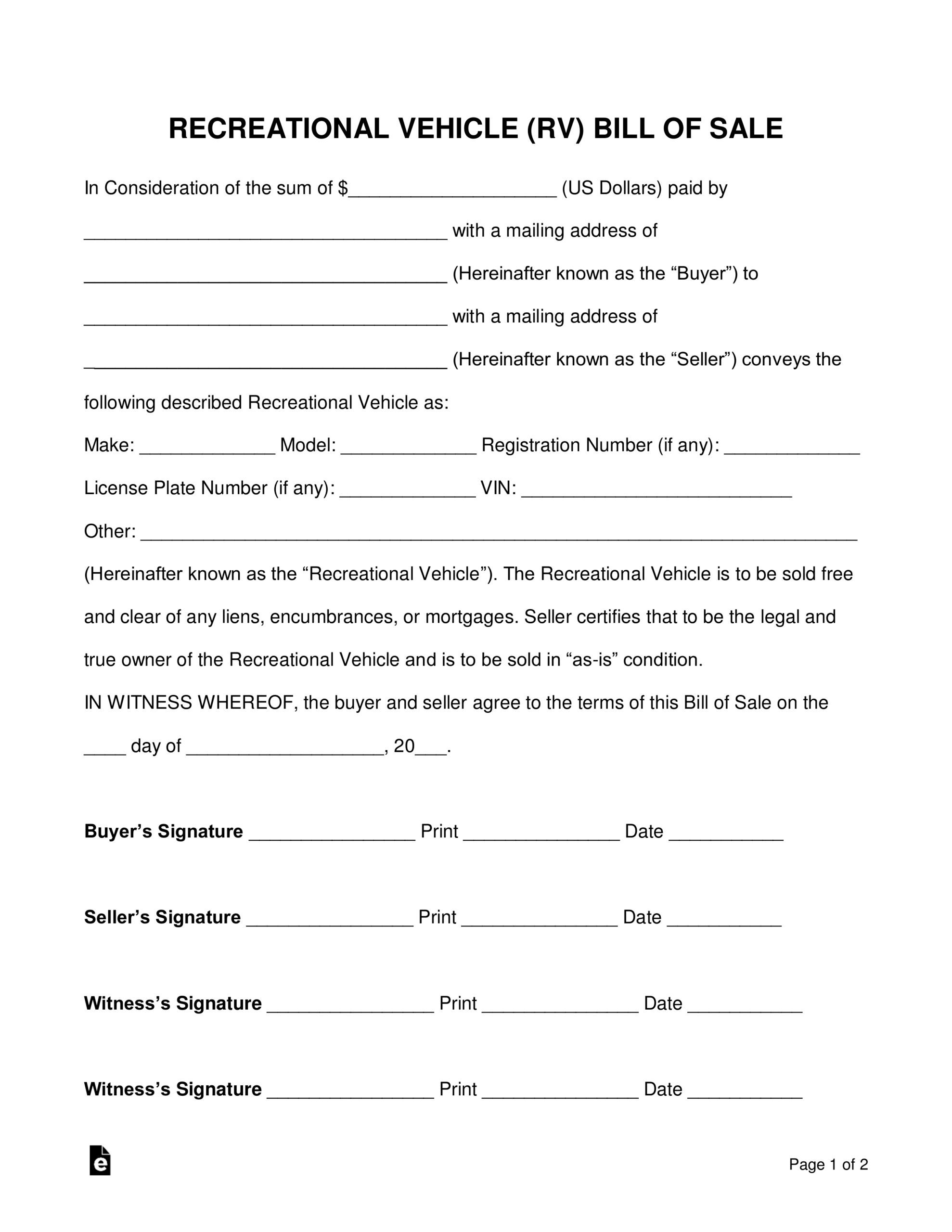 Free Recreational Vehicle (Rv) Bill Of Sale Form – Word Within Car Bill Of Sale Word Template