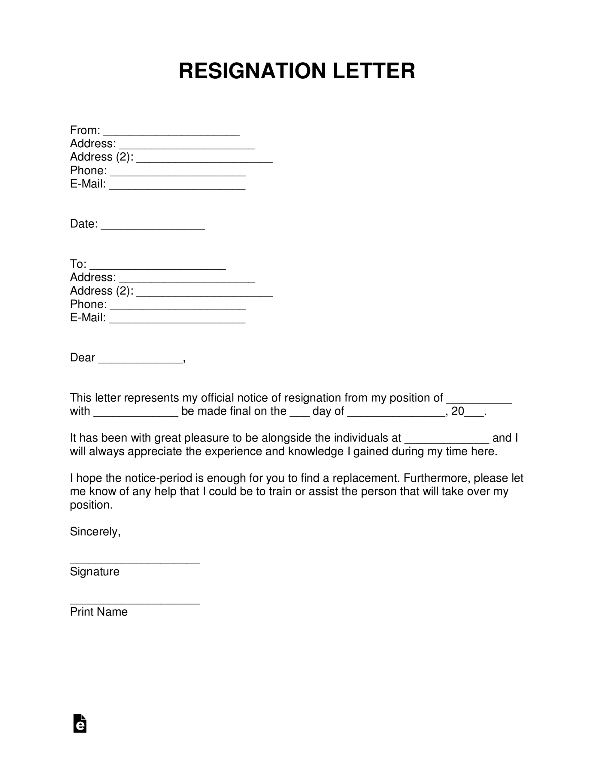 Free Resignation Letters | Templates & Samples - Pdf | Word With Regard To Two Week Notice Template Word