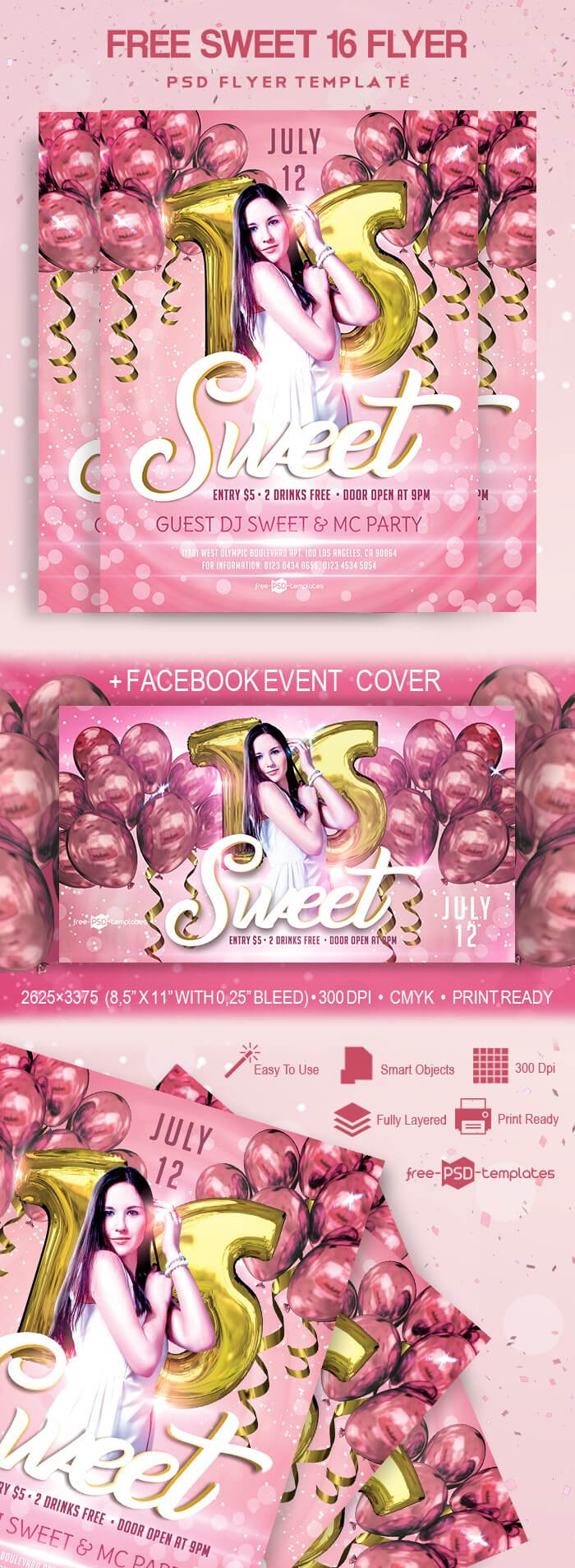 Free Sweet 16 Flyer In Psd | Free Psd Templates With Regard To Sweet 16 Banner Template