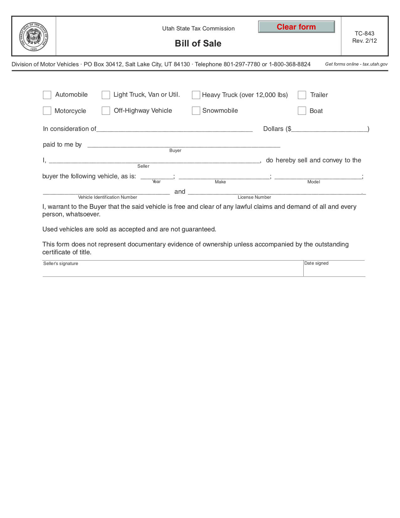 Free Utah Bill Of Sale Form – Pdf Template   Legaltemplates With Regard To Car Bill Of Sale Word Template