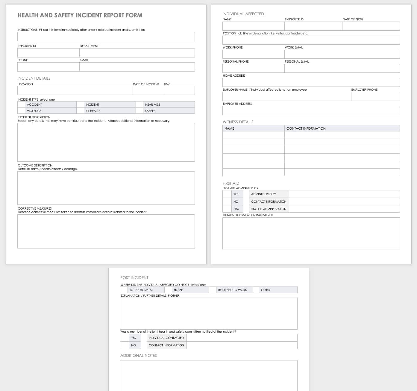Free Workplace Accident Report Templates   Smartsheet For Monthly Health And Safety Report Template