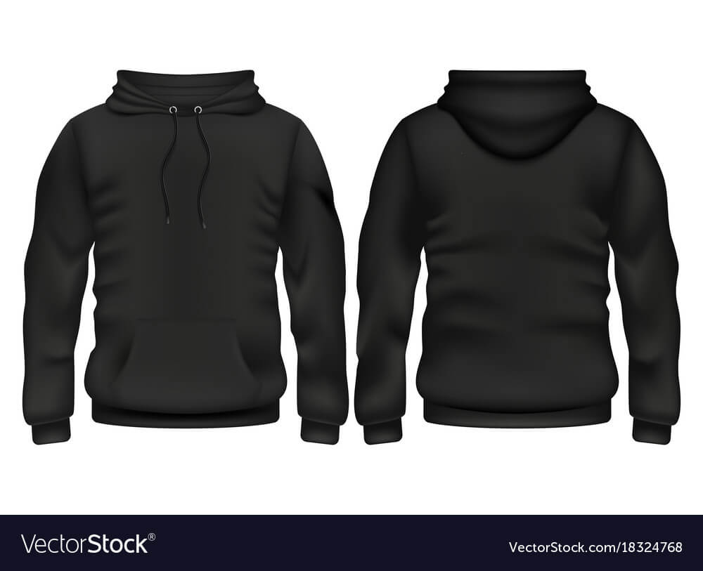 Front And Back Black Hoodie Template Within Blank Black Hoodie Template