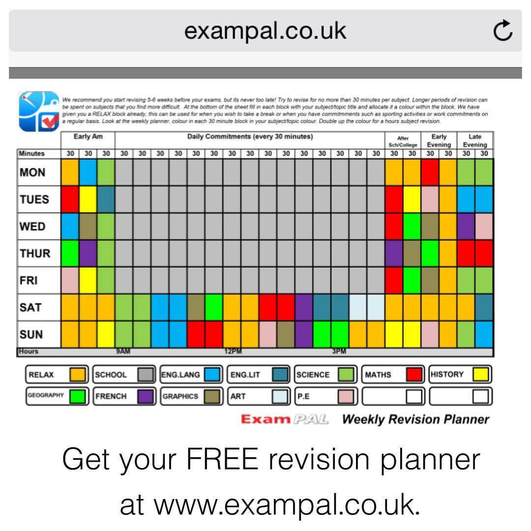 Gcse Revision Planner Template Revision Timetable Template In Blank Revision Timetable Template