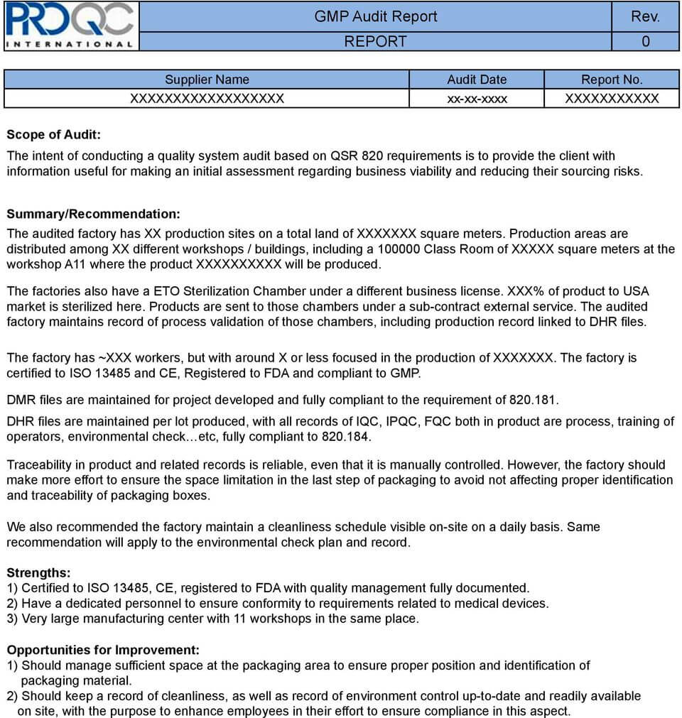 Gmp Audit Report. * Example Report * - Pdf Free Download Intended For Gmp Audit Report Template