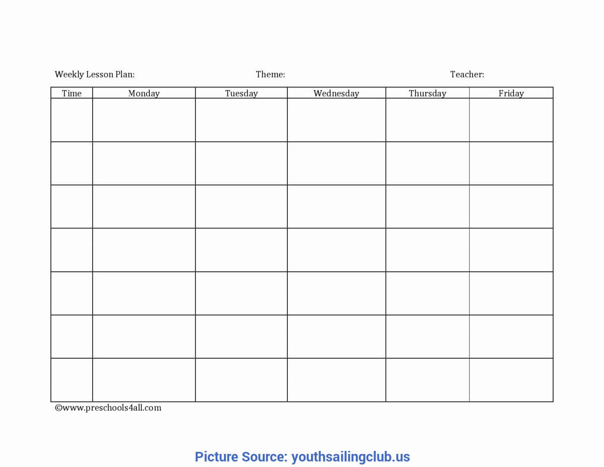 Good Blank Lesson Plan Template Daycare Home Lesson Plans Intended For Blank Preschool Lesson Plan Template