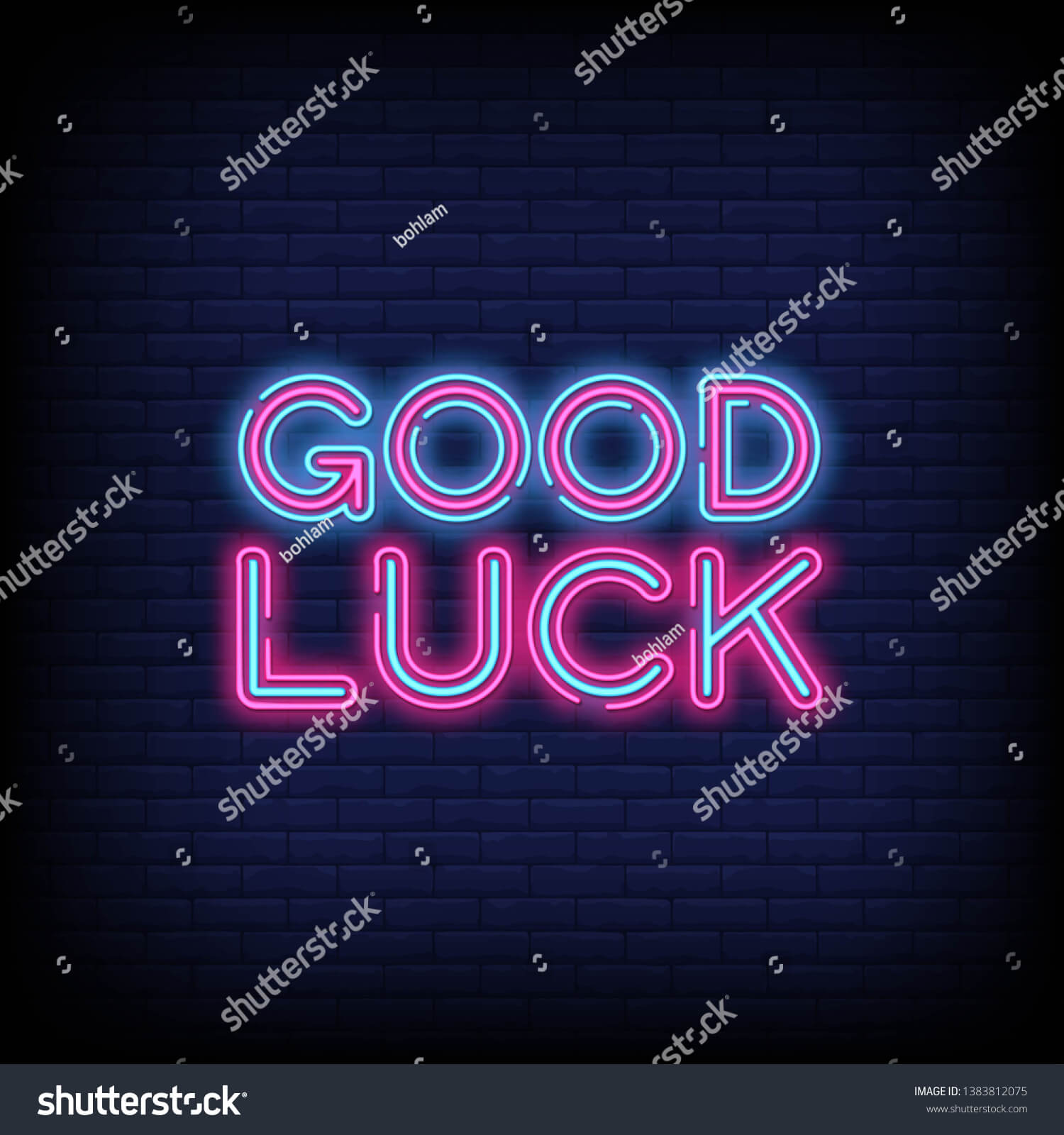 Good Luck Neon Sign Vector Abrick Stock Vector (Royalty Free Regarding Good Luck Banner Template