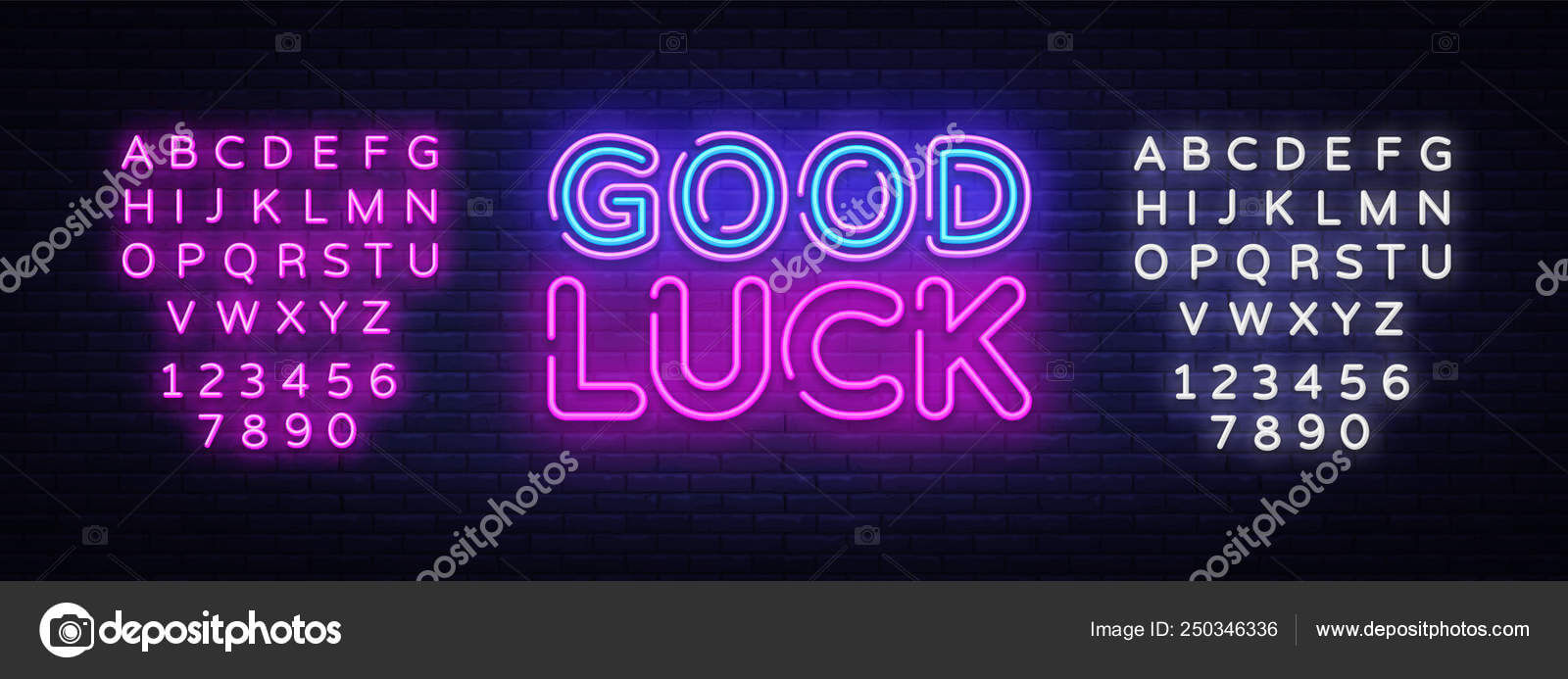 Good Luck Neon Sign Vector. Good Luck Design Template Neon Intended For Good Luck Banner Template