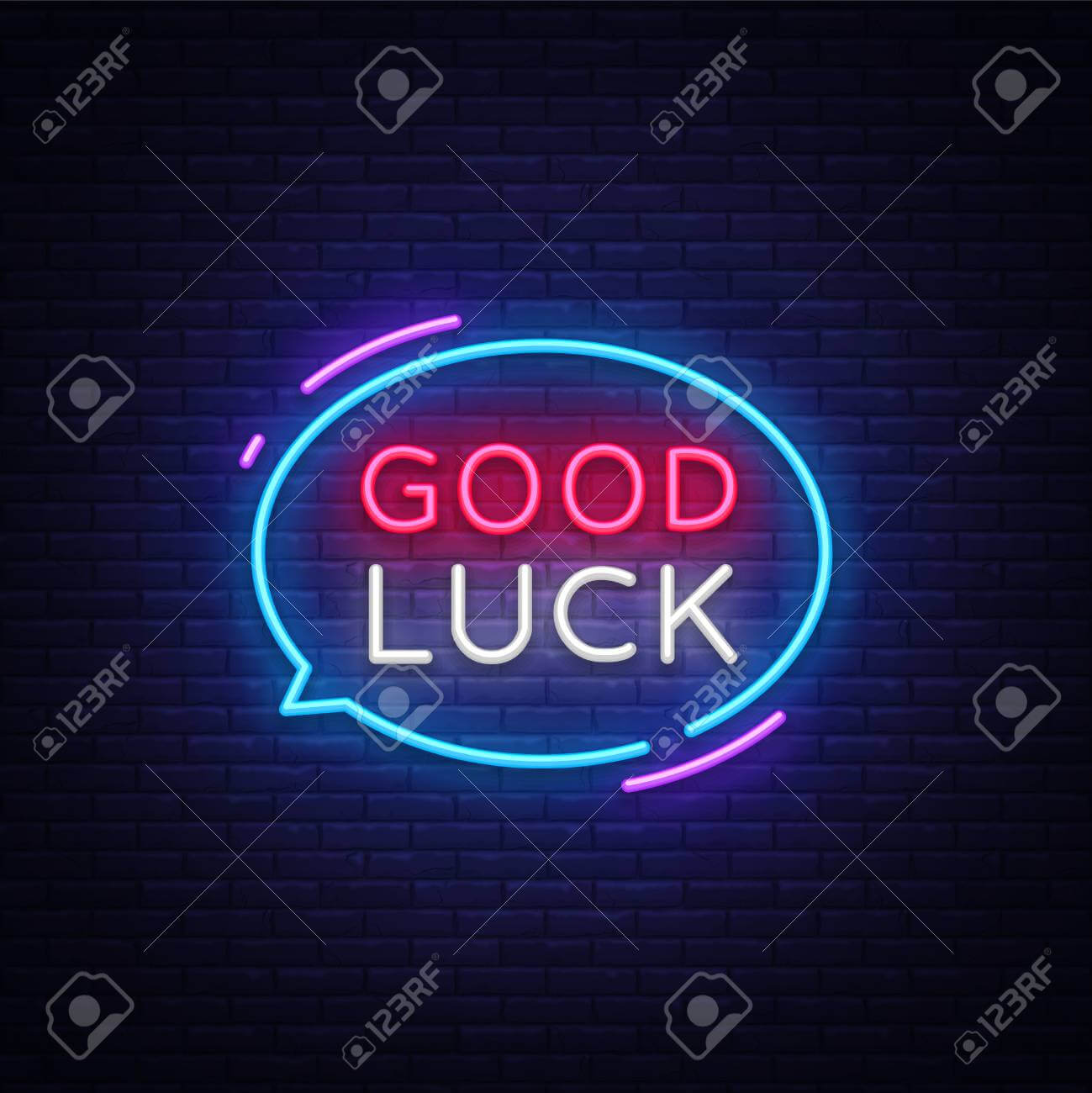 Good Luck Neon Text Vector. Good Luck Neon Sign, Design Template,.. Pertaining To Good Luck Banner Template