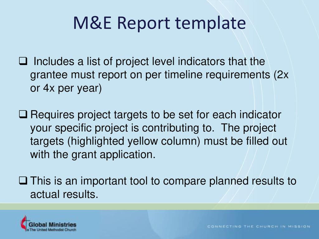 Grants – Workplan And Monitoring And Evaluation (M&e Regarding M&e Report Template