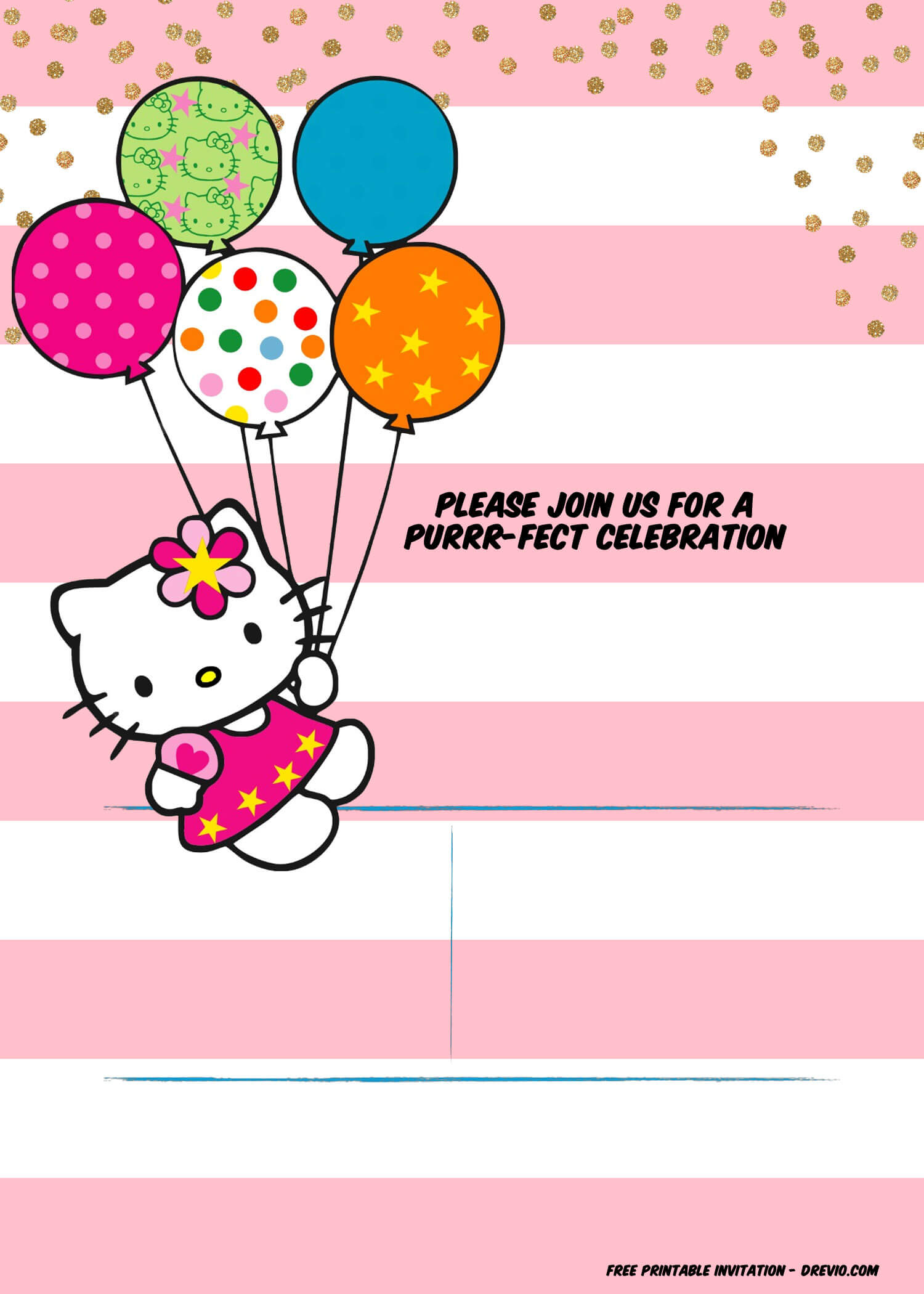 Hello Kitty Birthday Party Ideas – Invitations, Dress Intended For Hello Kitty Birthday Banner Template Free