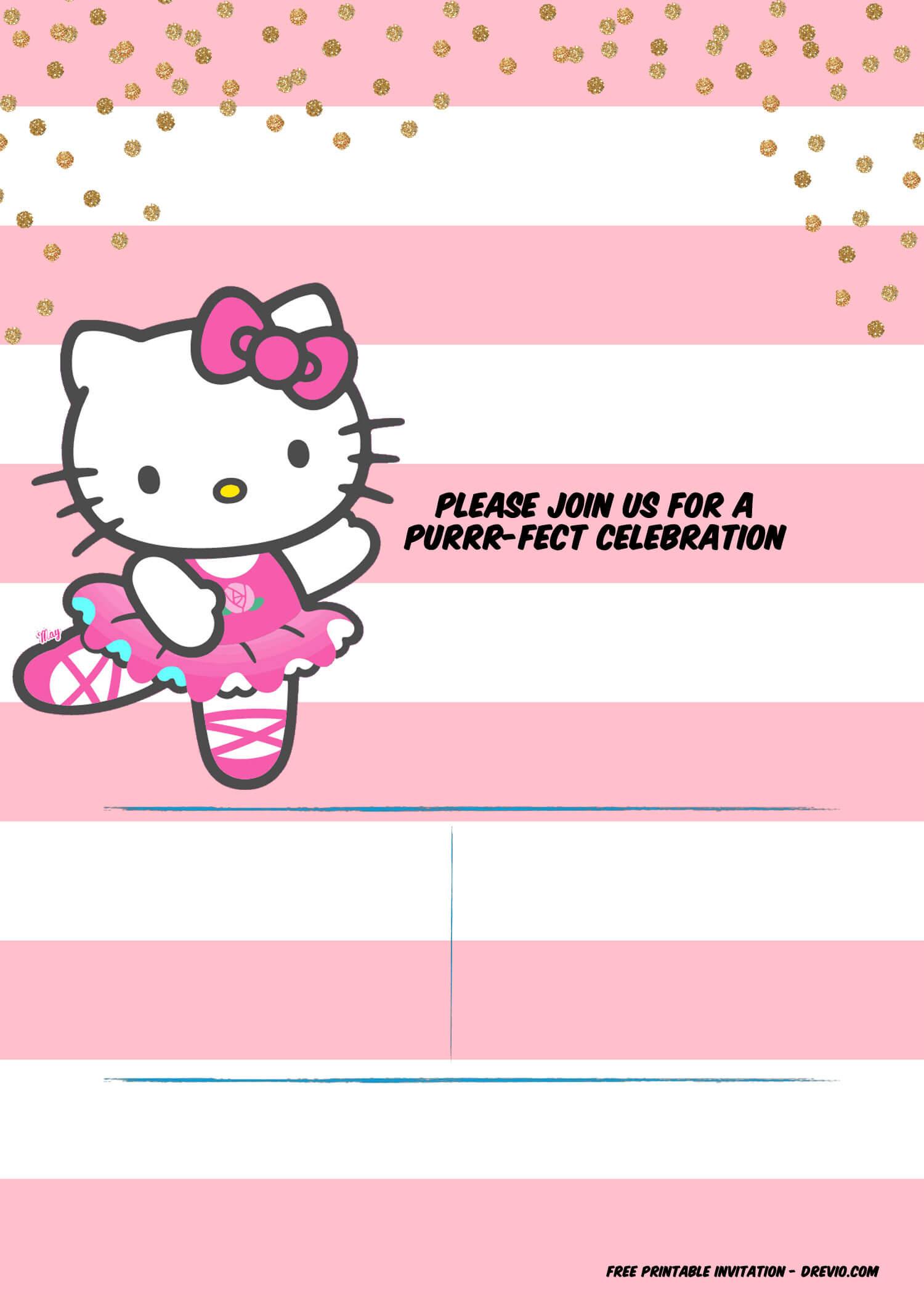 Hello Kitty Birthday Party Ideas - Invitations, Dress Throughout Hello Kitty Birthday Banner Template Free