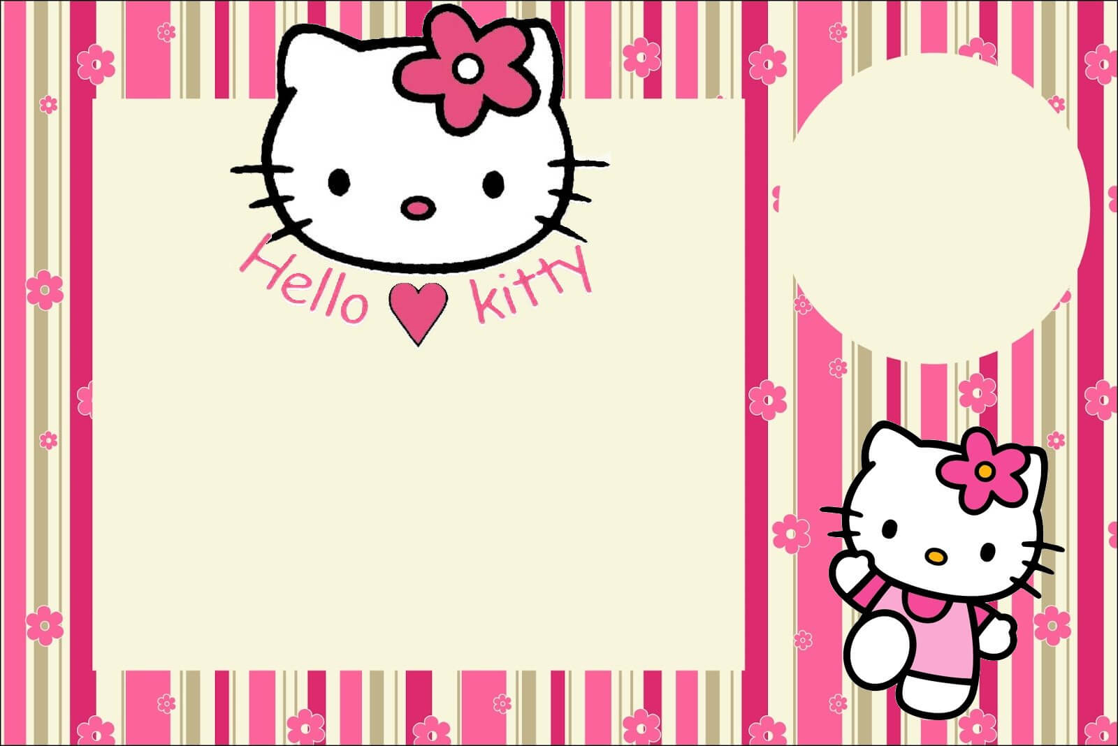 Hello Kitty With Flowers: Free Printable Invitations. – Oh Throughout Hello Kitty Birthday Banner Template Free