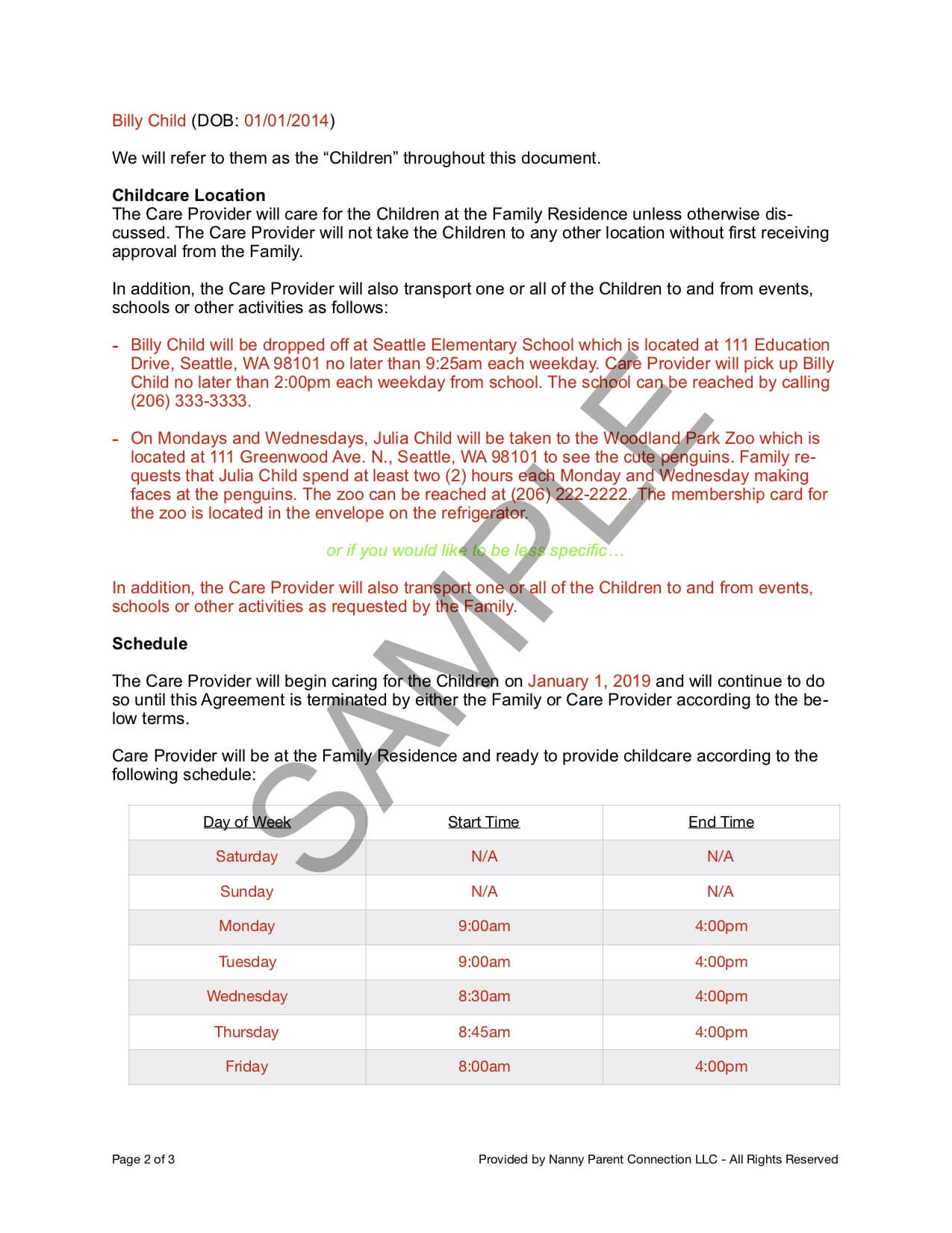 Household Employee Agreement | Nanny Parent Connection Intended For Nanny Contract Template Word