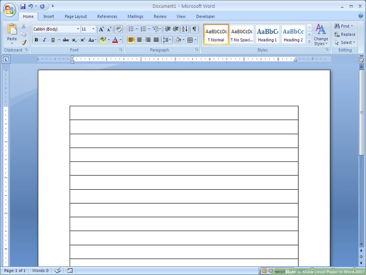 How To Make Lined Paper In Word 2007: 4 Steps (With Pictures) In Ruled Paper Word Template