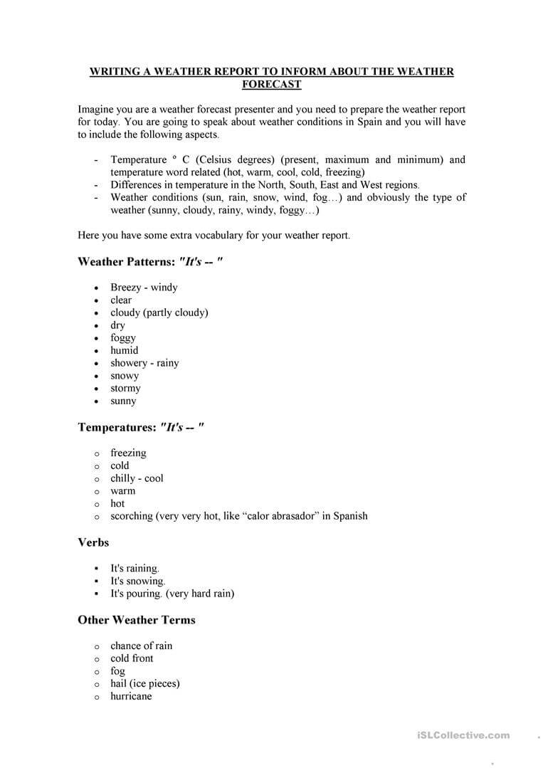 How To Write A Weather Report - English Esl Worksheets Regarding Kids Weather Report Template