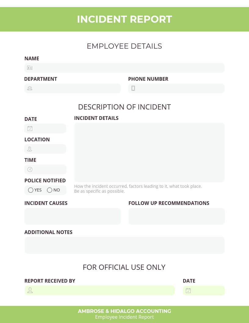 How To Write An Effective Incident Report [Examples + For Incident Report Form Template Doc