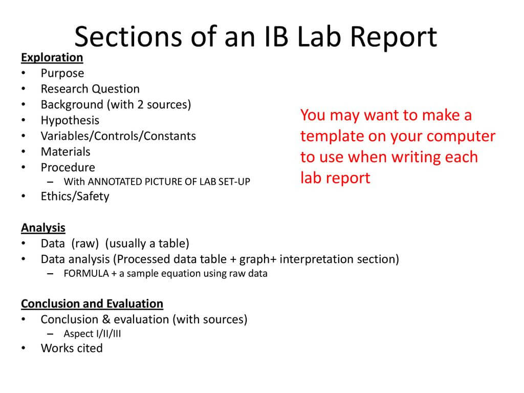 Ib Biology Lab Report Guidelines – Ppt Download Within Ib Lab Report Template