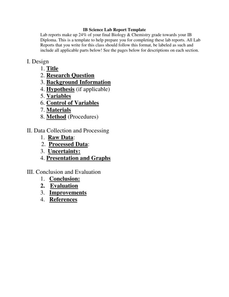 Ib Biology Lab Report Template In Science Experiment Report Template