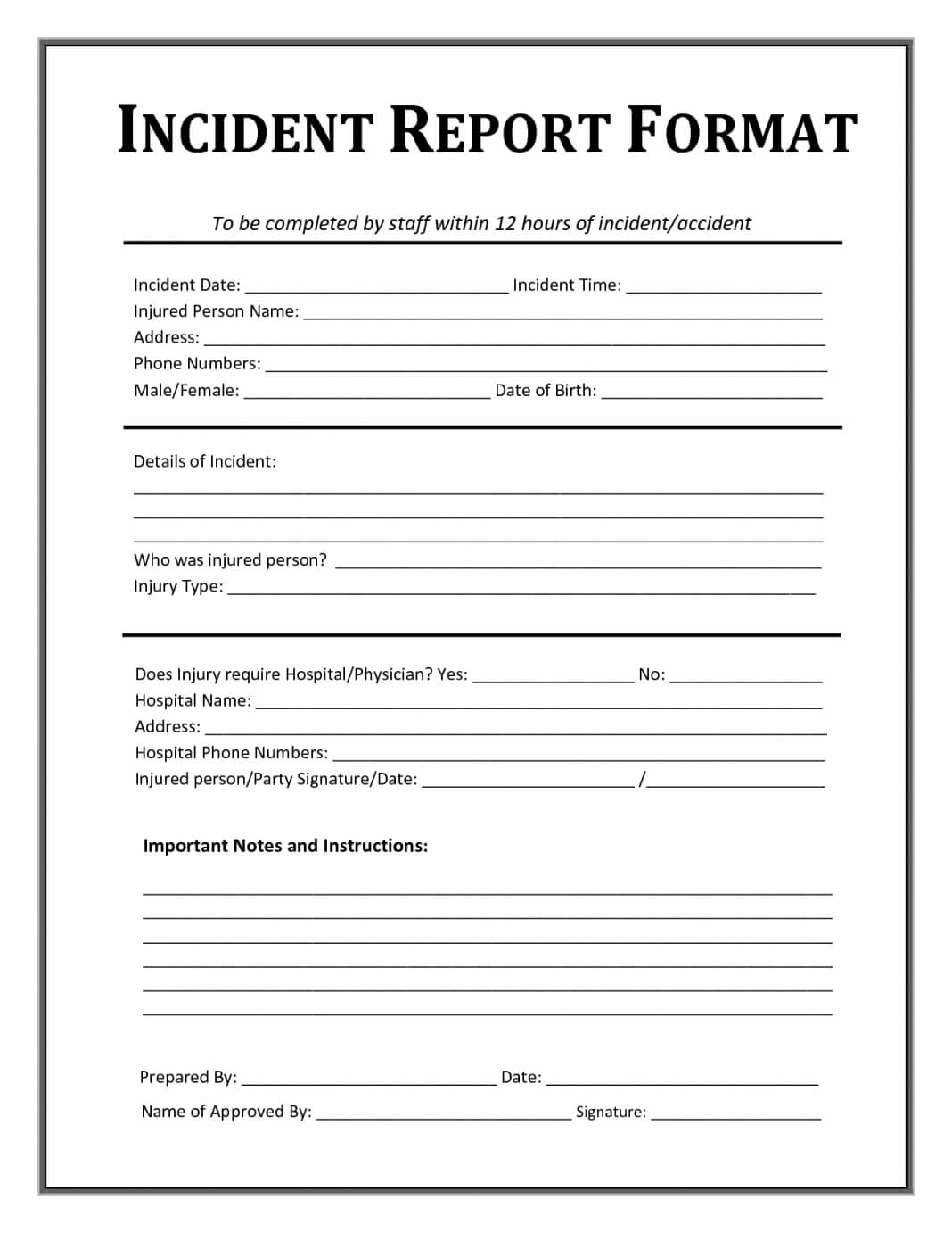 Incident Report Format Template Form Word Uk Document South Inside Incident Report Template Uk