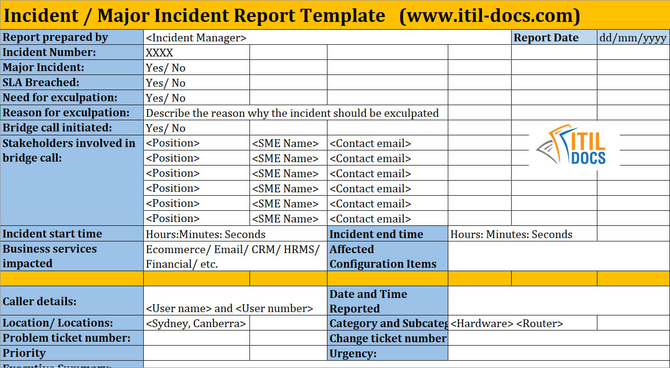 Incident Report Template | Major Incident Management – Itil Docs Pertaining To Itil Incident Report Form Template