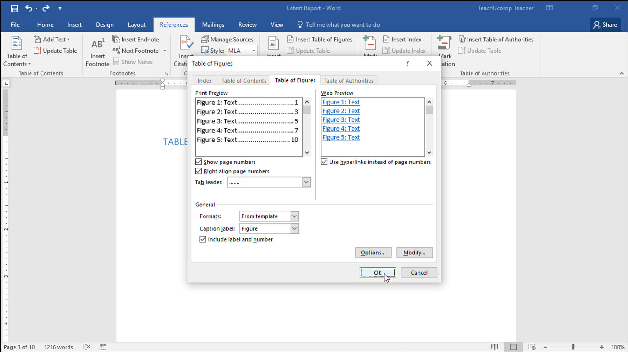 Insert A Table Of Figures In Word - Teachucomp, Inc. In Word 2013 Table Of Contents Template