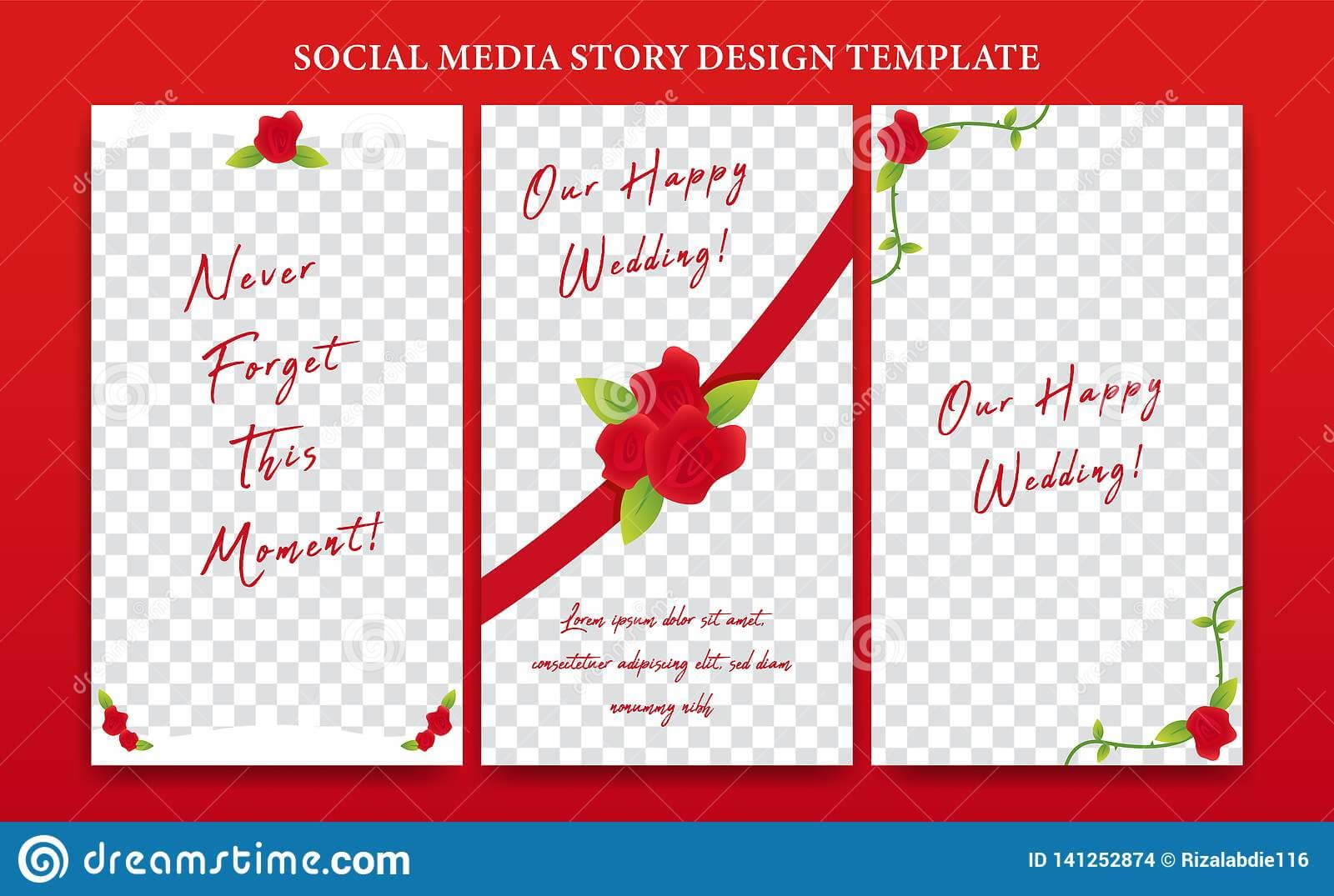 Instagram Story Social Media Banner Design Template Set Pertaining To Wedding Banner Design Templates