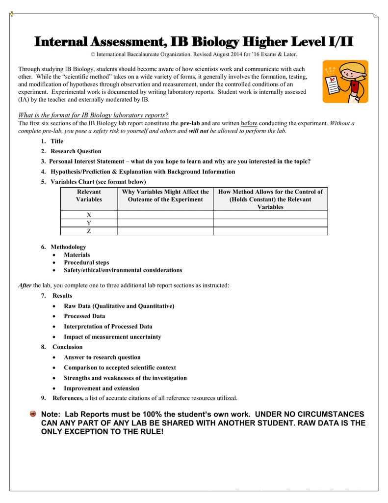 Internal Assessment Cover Sheets, Ib Biology I/ii With Regard To Ib Lab Report Template