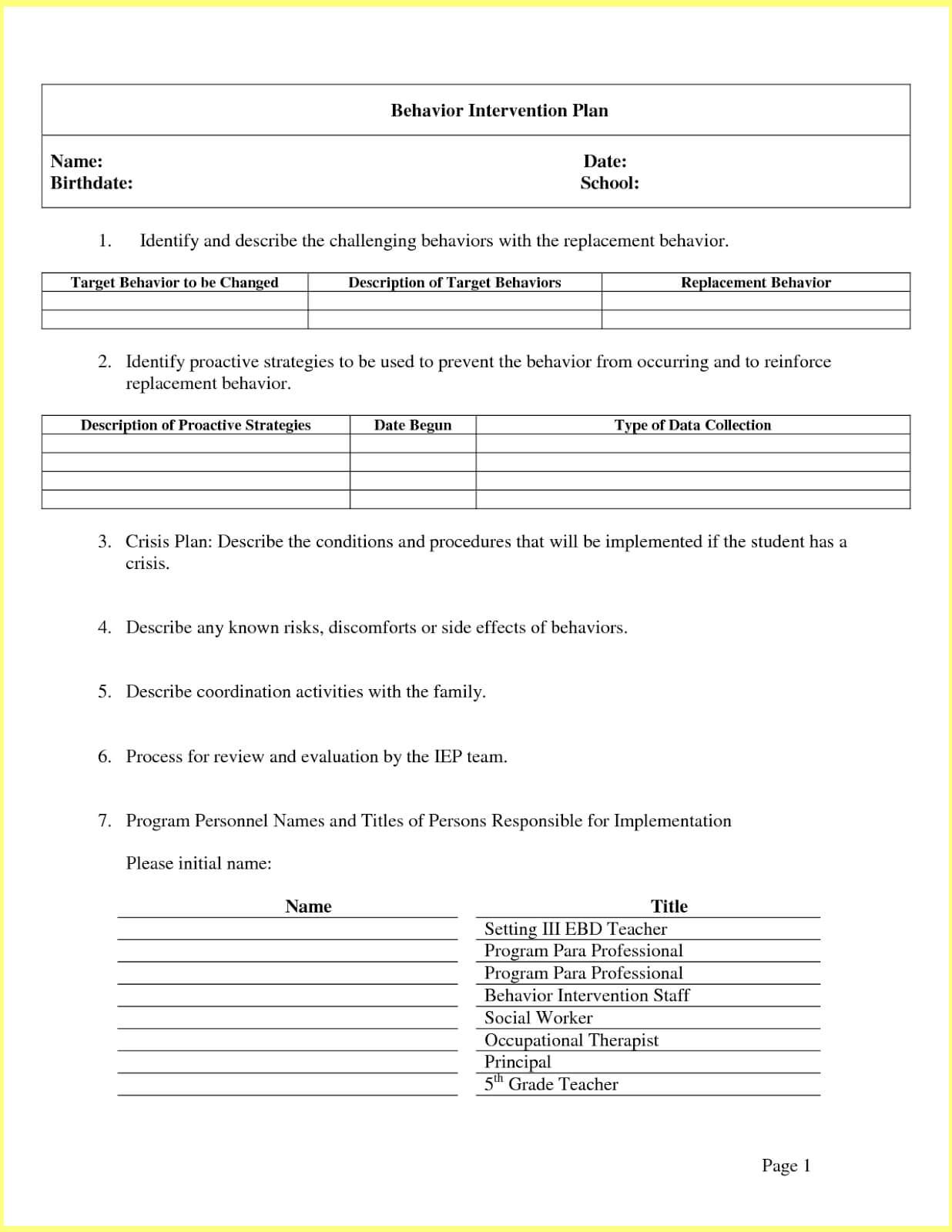 Intervention Report Template ] - Behavior Intervention Plan Regarding Intervention Report Template