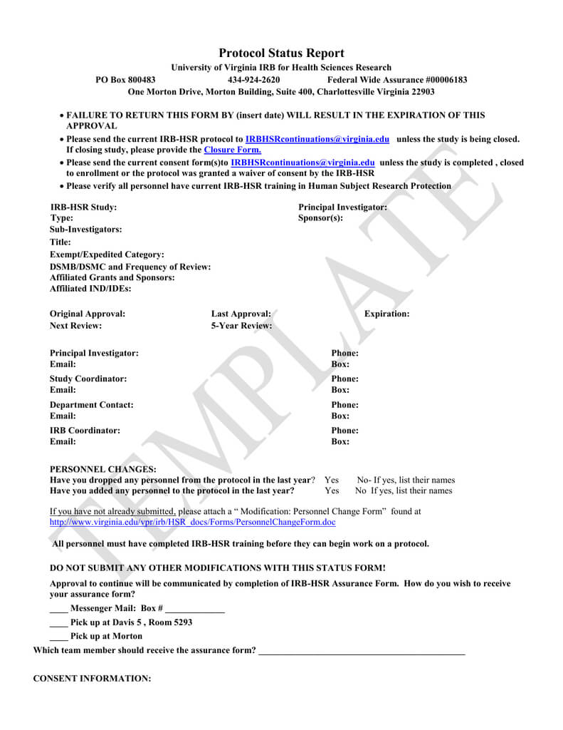 Irb Hsr Status Forms Templates Pertaining To Dsmb Report Template