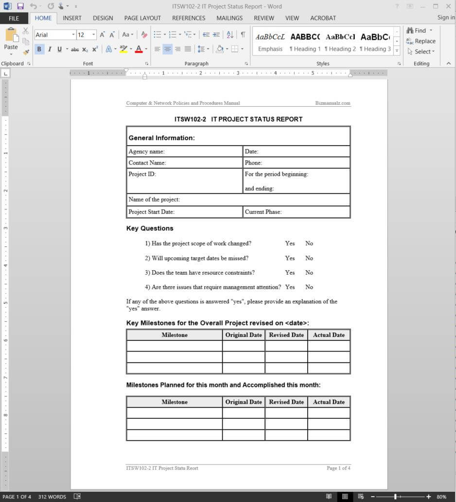 It Project Status Report Template | Itsw102 2 In Software Development Status Report Template