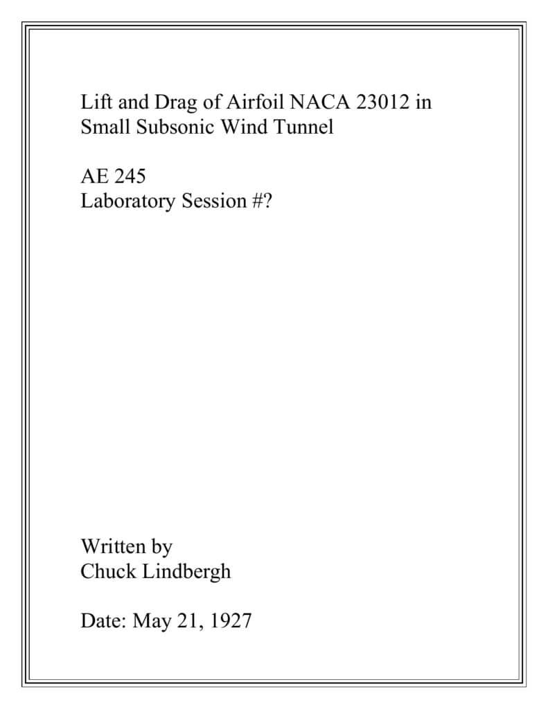 Lab Report Template – Aerospace Engineering Intended For Engineering Lab Report Template