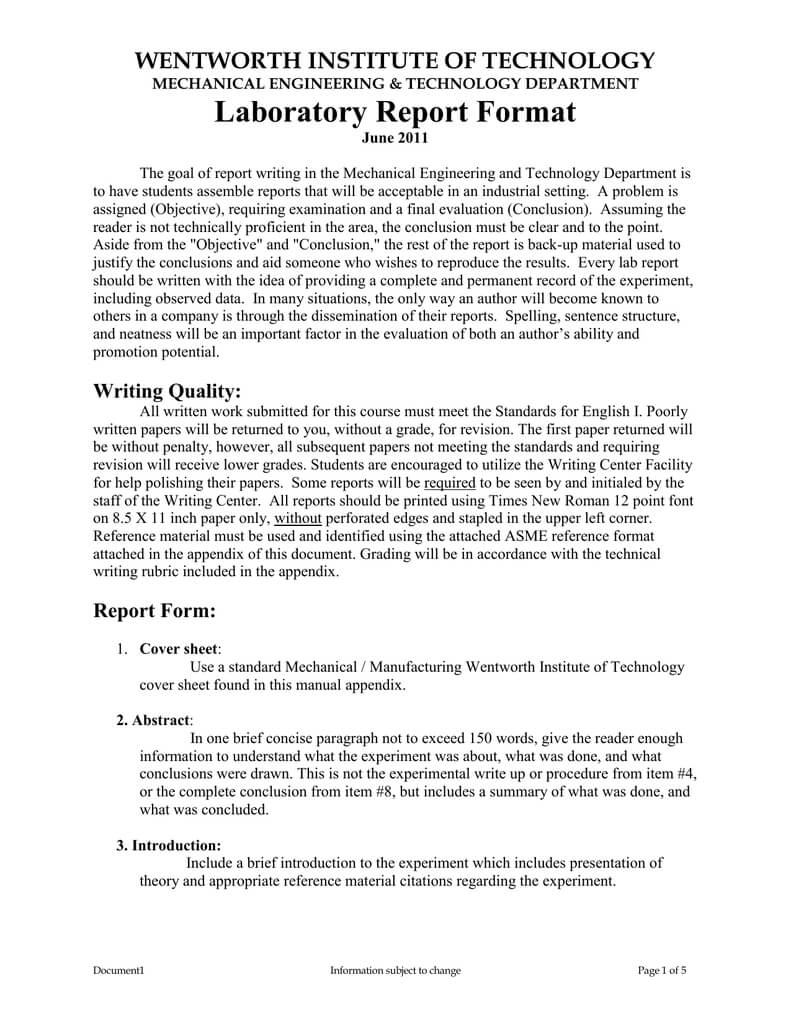 Laboratory Report Format Throughout Engineering Lab Report Template