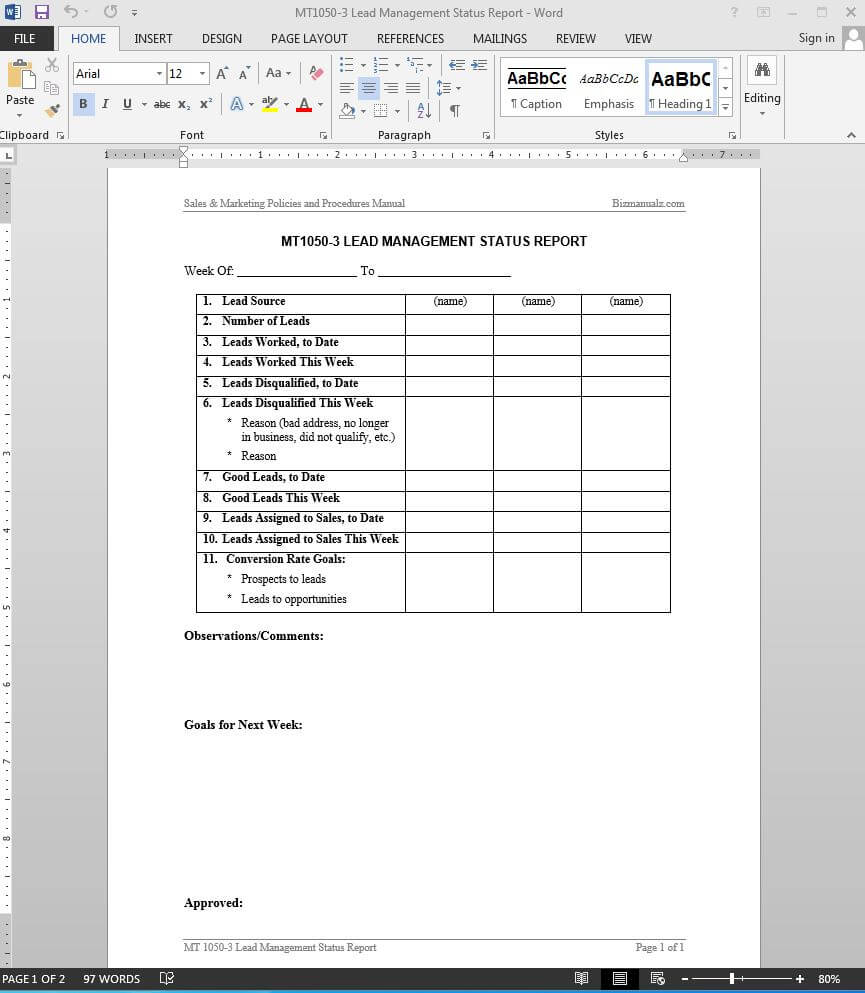 Lead Management Status Report Template | Mt1050 3 With Sales Lead Report Template