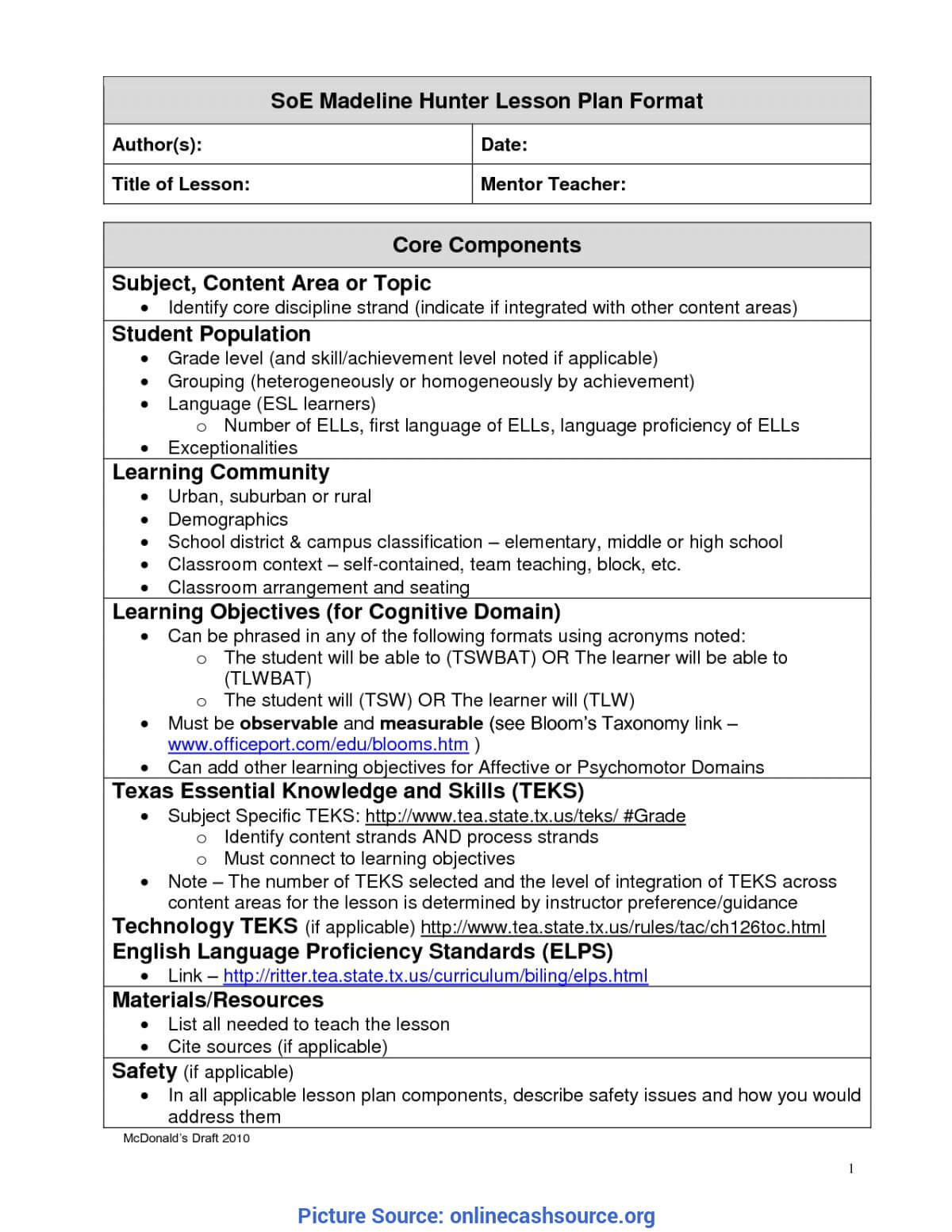Madeline Hunter Lesson Plan Template Word - Colona.rsd7 Pertaining To Madeline Hunter Lesson Plan Template Word