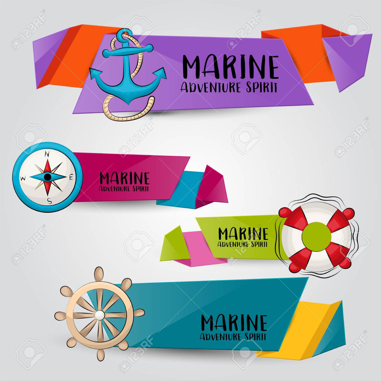 Marine Nautical Travel Concept. Horizontal Banner Template Set Intended For Nautical Banner Template