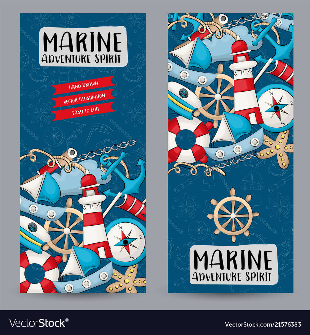 Marine Nautical Travel Concept Vertical Banner For Nautical Banner Template