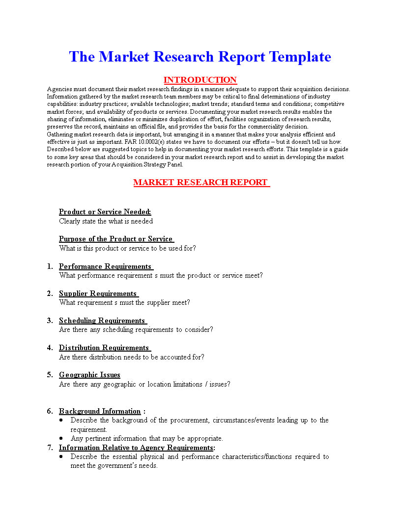 Market Research Report Format   Templates At Pertaining To Market Research Report Template