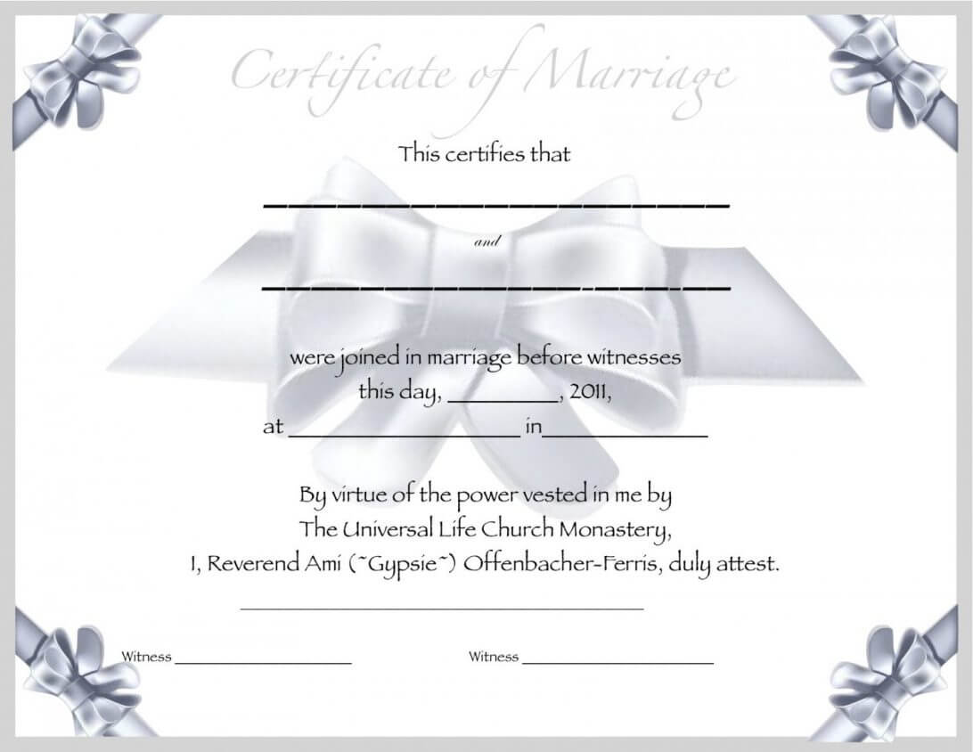 Marriage Certificate Template Beautiful Antique 19Th Century Within Blank Marriage Certificate Template