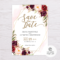 Marsala Flowers With Gold Frame Save The Date Template With Save The Date Templates Word
