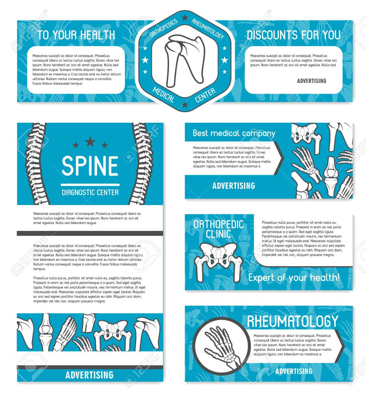 Medical Banner Set Of Orthopedics And Rheumatology Medicine Template Regarding Medical Banner Template